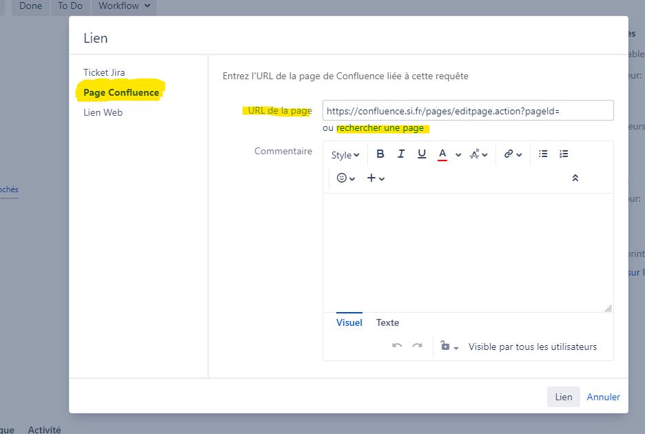 créer un lien entre une page de documentation Confluence et un ticket Jira avec issueType User Story, Task, Study ou Epic