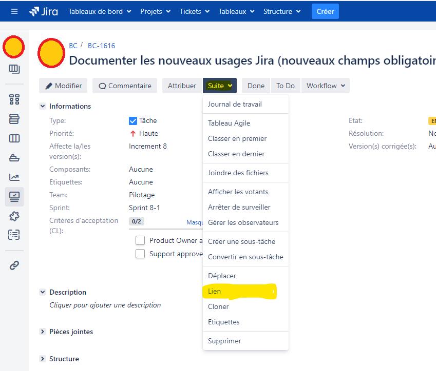créer un lien entre une page de documentation Confluence et un ticket Jira de type User Story, Task, Study ou Epic