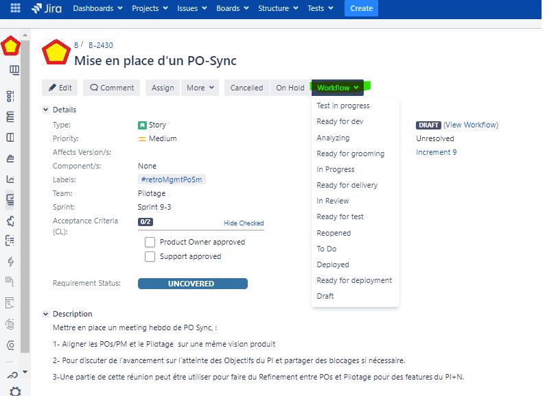 commment modifier workflow status ticket Jira tutoriel